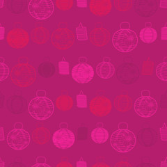 Vector red seamless pattern with paper lanterns. Suitable for textile, gift wrap and wallpaper.