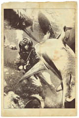 sharks - engraved vintage illustration, fighting diver with shotgun, underwater adventure