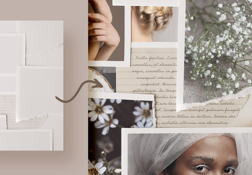 Photo Collage Mockup with Note Paper