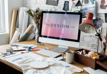 Computer on Fashion Designer's Desk Mockup