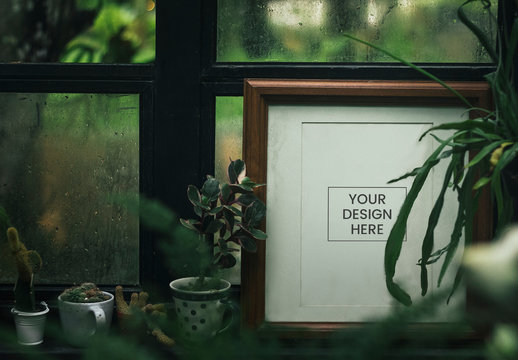 Photo Frame Near Houseplants Mockup