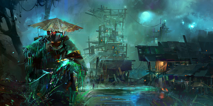 drawn night fantastic cyberpunk style landscape with a soldier