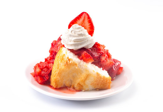 A Strawberry Short Cake Made with Angel Food Cake and Strawberry Sauce