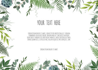 Green branches leaves foliage, border, frame. Floral poster, invite.