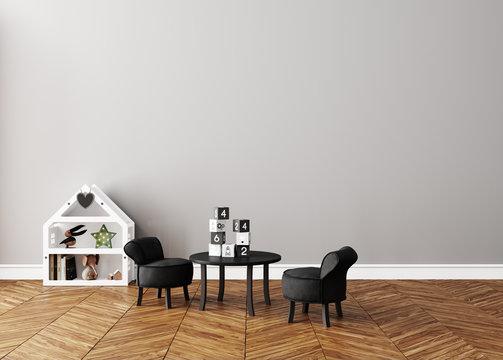 Wall mock up in children room interior, Scandinavian style, 3d render