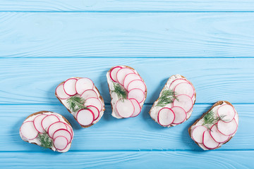 Healthy vegetable toasts sandwith with radish and dill