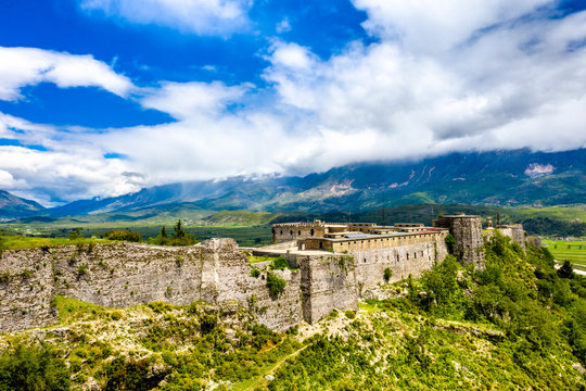 Aerial view of Gjirokaster Fortress in Albania