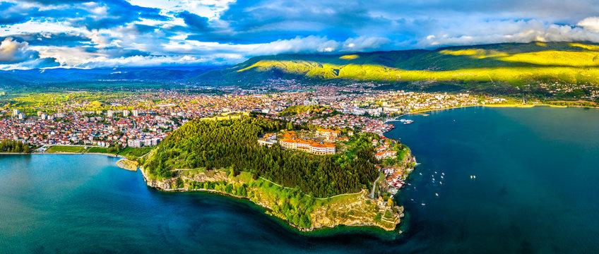 Samuels Fortress and Plaosnik at Ohrid in North Macedonia