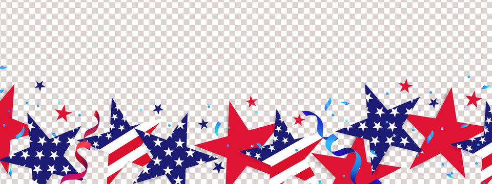 Fourth of July background. 4th of July holiday long horizontal border. USA Independence Day Decoration elements - confetti stars in national colors isolated on background.