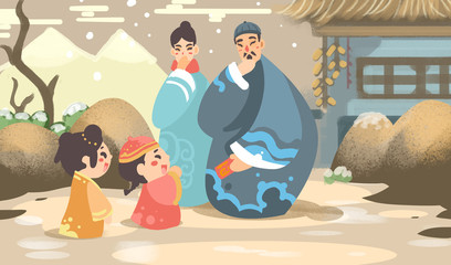 The Spring Festival illustrations