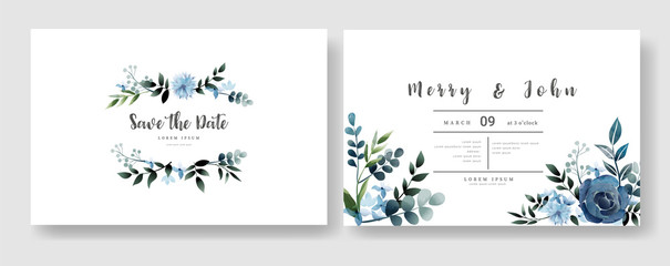 Set of Wedding invitation Card,save the date thank you card,rsvp with floral   and leaves,  watercolor style for printing, badge.vector illustration Wall mural
