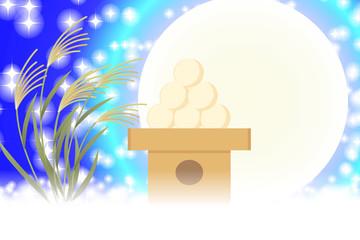背景素材壁紙,イラスト,月見,伝統行事,すすき,満月,十五夜,中秋の名月,団子,光,キラキラ,フリー