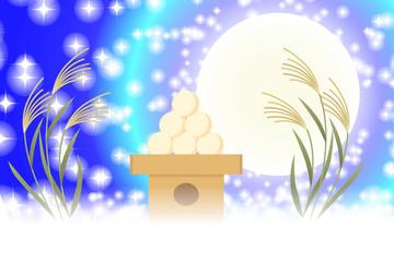 背景素材壁紙,イラスト,お月見,伝統行事,ススキ,満月,十五夜,中秋の名月,団子,光,キラキラ,無料
