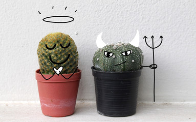 cactus photo with hand drawn black line face illustration