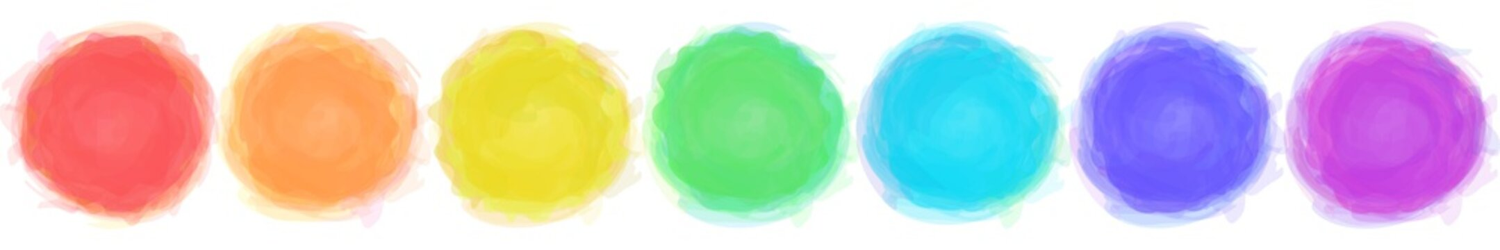 Watercolor motley circles set. Smoky frames. Colorful templates. 7 rainbow colors