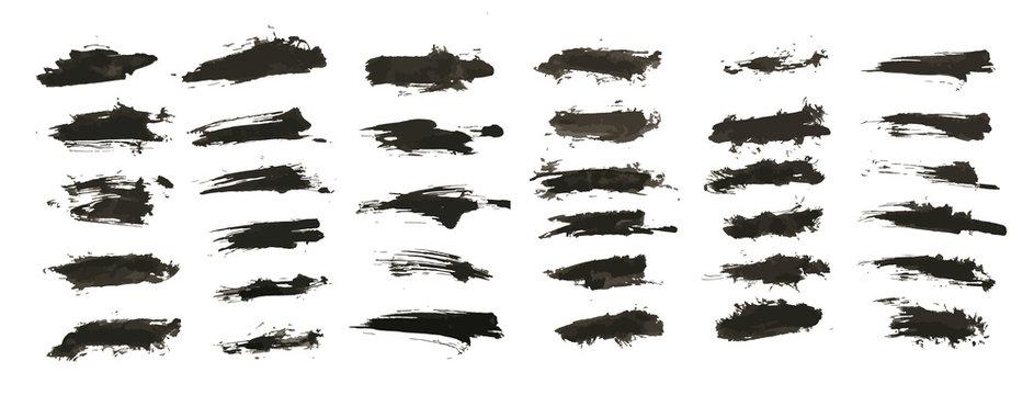 Ink splashes. Vector Brushes, black inked splatter dirt stain splattered spray splash with drops blots isolated grunge silhouette set. Vector collection