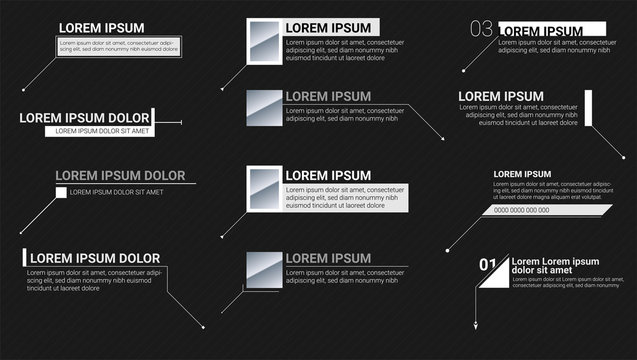 Digital information labels on black background. Callouts titles. Modern banners of lower third for presentation. Vector titles bar. Template for animation of video infographics, presentations