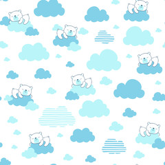 seamless pattern illustration of cute baby bear dreaming on blue clouds, design for baby and children