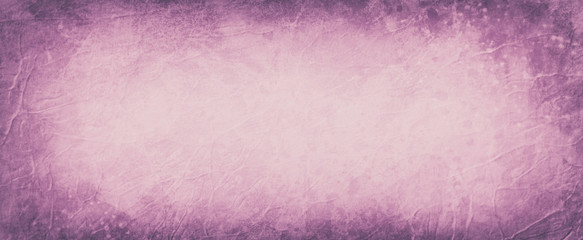Old pink and purple background with dark border grunge, abstract vintage background with wrinkled creases and paint spatter style texture pattern