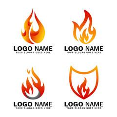 flame vector logo set, premium - vector