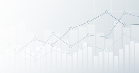 Widescreen abstract financial chart with uptrend line graph and candlestick on black and white color background
