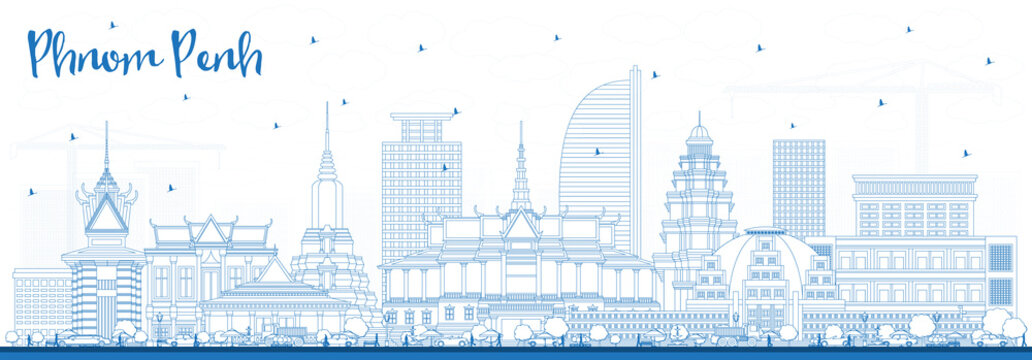 Outline Phnom Penh Cambodia City Skyline with Blue Buildings.