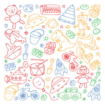 Vector pattern with kindergarten, toy children. Happy children illustration. Drawing on a white background.