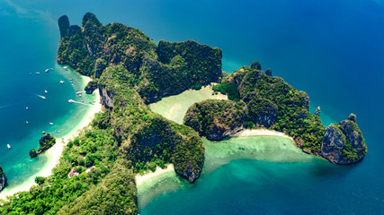 Fototapeta Aerial drone view of tropical Koh Hong island in blue clear Andaman sea water from above, beautiful archipelago islands and beaches of Krabi, Thailand obraz
