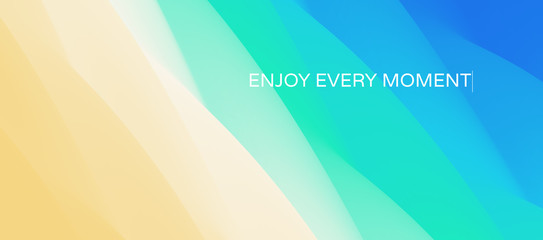 Wall Mural - Enjoy every moment. Wave of ocean on the sandy beach. Nature background. Modern screen design for mobile app and web. Summer vector illustration.