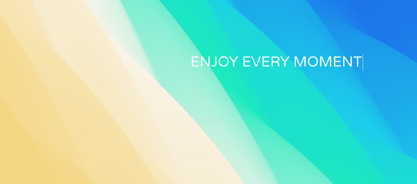 Enjoy every moment. Wave of ocean on the sandy beach. Nature background. Modern screen design for mobile app and web. Summer vector illustration.