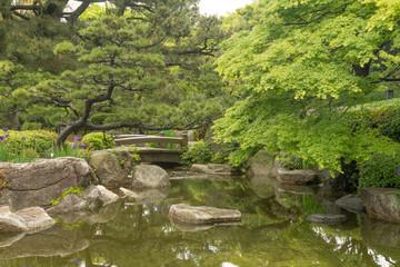 Der japanische Garten im Ohori Park in Fukuoka