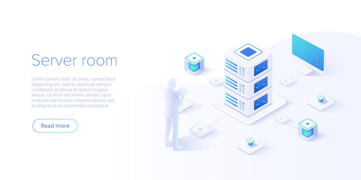 Datacenter isometric vector illustration. Abstract hosting server or data center room background. Network or mainframe infrastructure website layout. Computer storage or farming workstation.