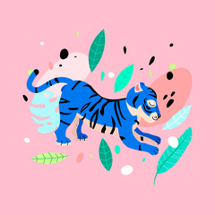Cheerful tiger in neon colors illustration. Funny neon blue tiger with tropical leaves.