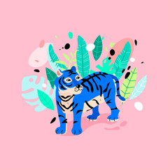 Cheerful tiger in the rainforest illustration. Funny neon blue tiger with tropical leaves.