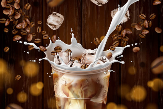 Iced latte with milk ads