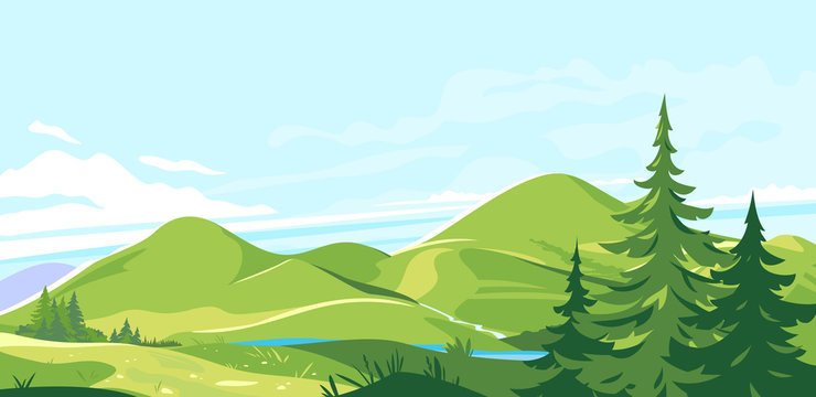 Mountain range landscape background in sunny day, hiking travel concept illustration, panorama of green hills with plants and grass