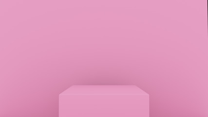 3d abstract background render. Pink platform for product display. Interior podium place. Blank decoration template for design.