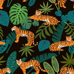 Tiger pattern with tropical leaves. Vector seamless texture.