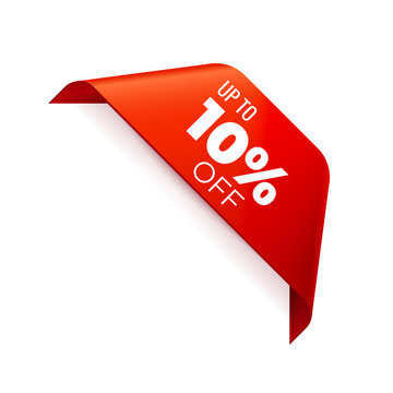 Red Vector Banner Ribbon on white background, corner ribbon, up to 10 percent off