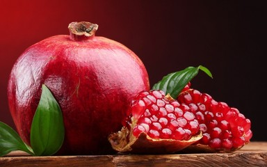 pomegranate on a wooden background