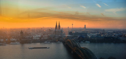 Aerial view of Cologne and Cologne Cathedral at sunset Wall mural