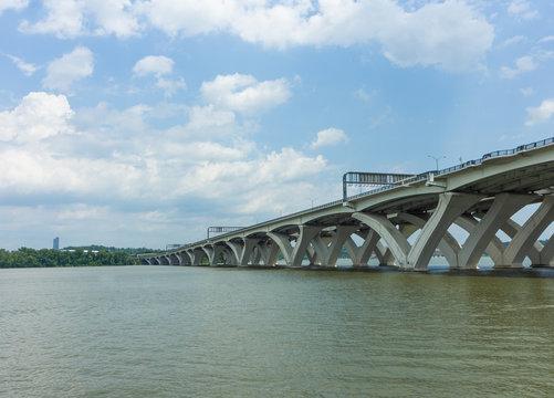 The Woodrow Wilson Memorial Bridge across the Potomac River.
