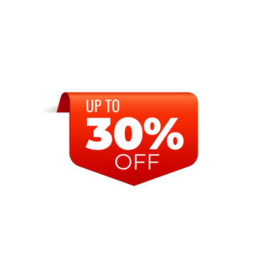 Red Vector Banner Ribbon on white background, top bookmark, up to 30 percent off