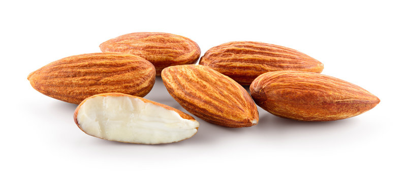 Almond. Group of almonds nuts isolated on white. Full depth of field.