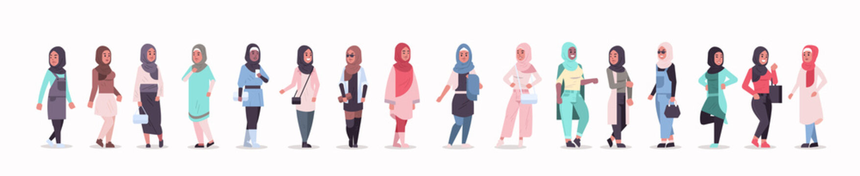 set arabic women in hijab different arab girls wearing headscarf traditional clothes female cartoon characters collection full length flat horizontal banner