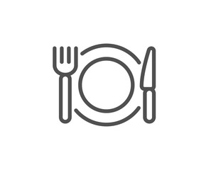 Zelfklevend Fotobehang Restaurant Restaurant food line icon. Dinner sign. Hotel service symbol. Quality design element. Linear style restaurant food icon. Editable stroke. Vector