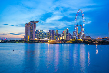 Wall Mural - Singapore city skyline at twilight with view of Marina Bay