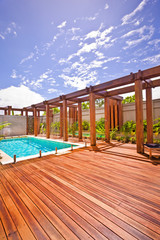 Wooden pillar and beam with a floor area  pool side