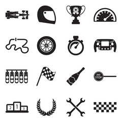 Formula 1 Icons. Black Flat Design. Vector Illustration.