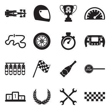 Formula 1 Icons. Black Flat Design. Vector Illustration.